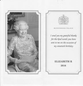 A thank you from The Queen